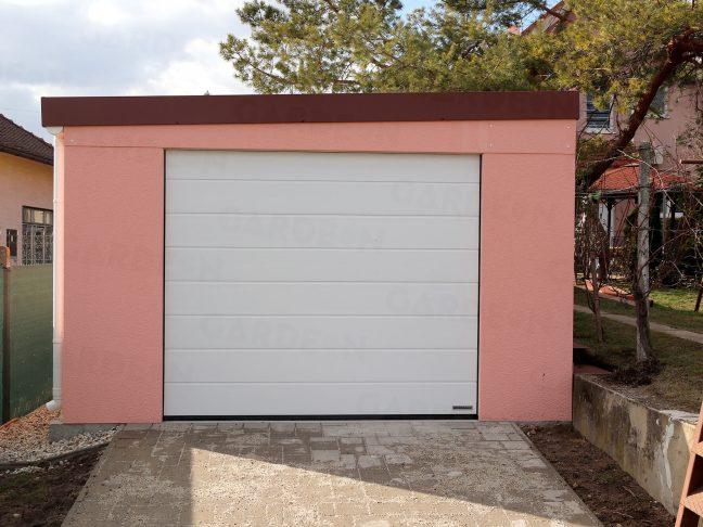 Eine 1-Auto-Garage mit rosa Putz