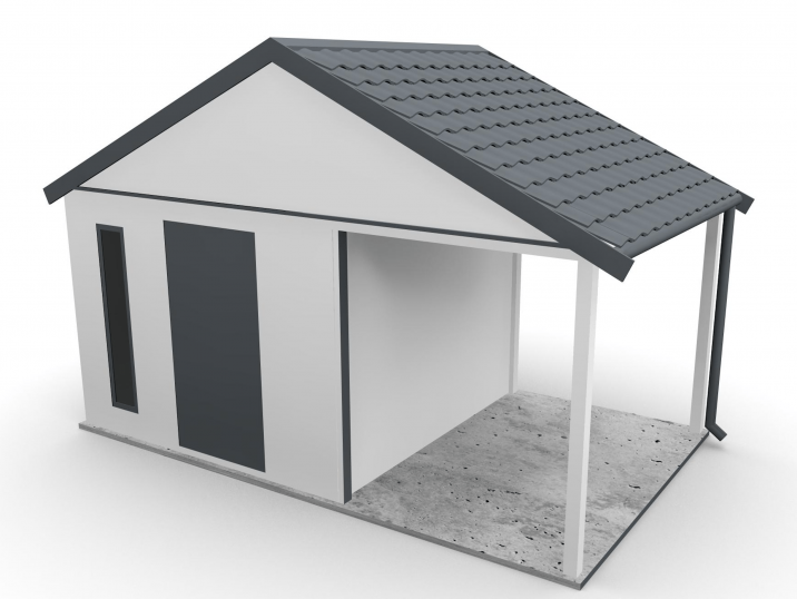 Ein Gartenhäuschen mit Satteldach und einer Überdachung