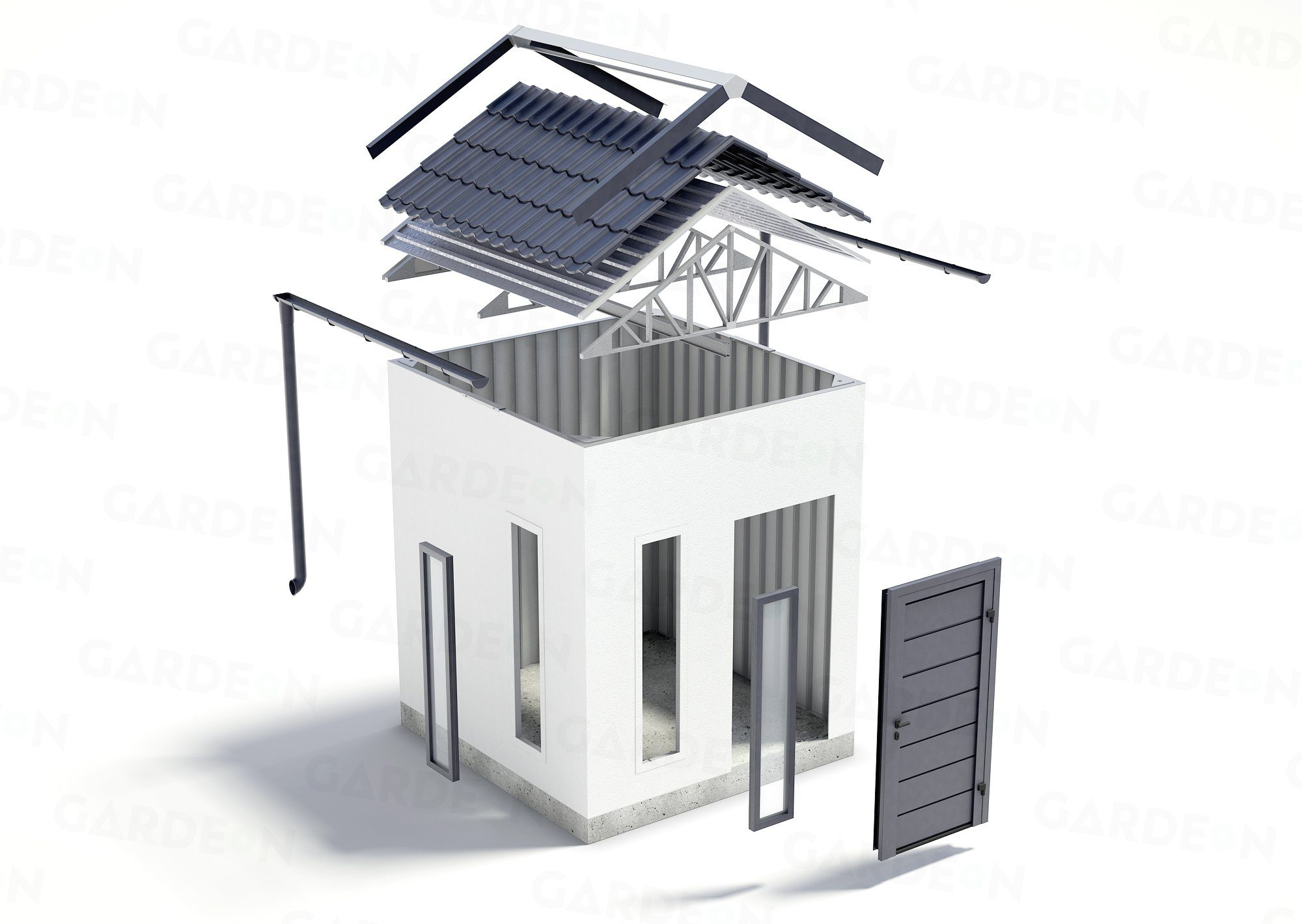 Die Visualisierung des Gartenhäuschens von GARDEON mit Satteldach