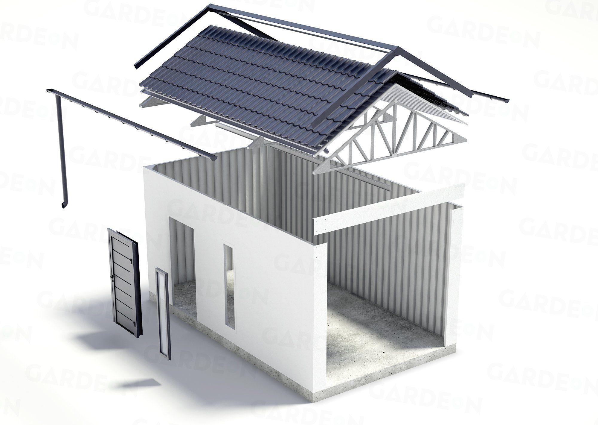 Visualisierung der Garage mit Satteldach