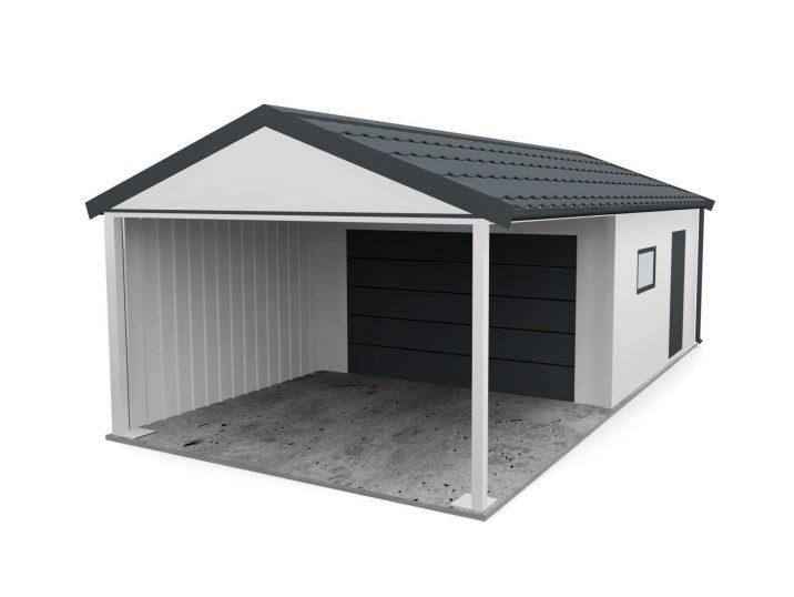 Eine Garage mit Überdachung