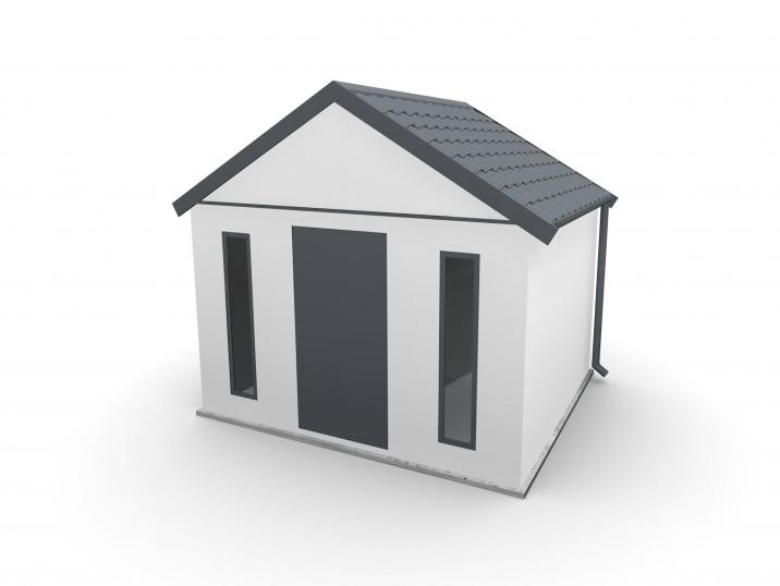 Ein Gartenhaus mit einem Satteldach