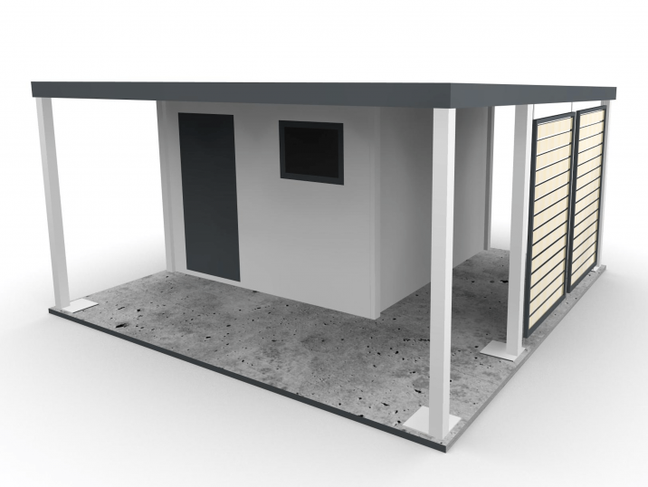 Ein Gartenhäuschens mit einer Überdachung auf der linken Seite