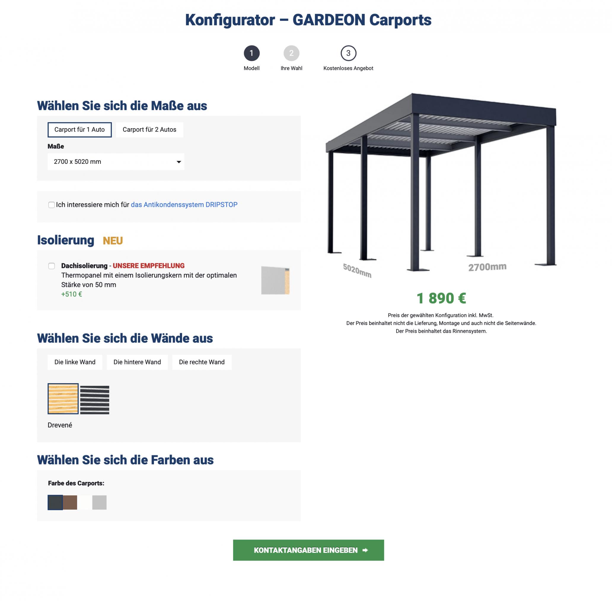 Konfigurator - Carports