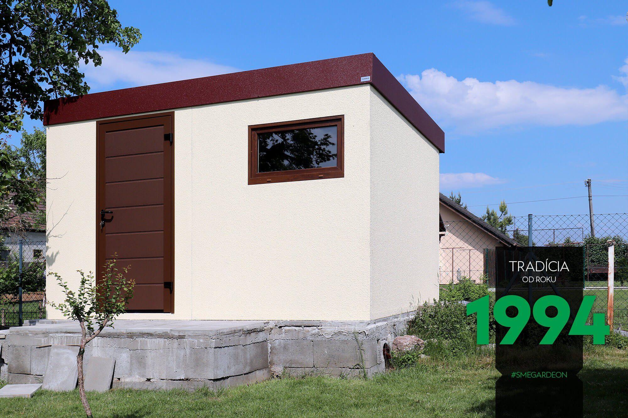 Ein minimalistisches Gartenhaus mit Fenster und Tür