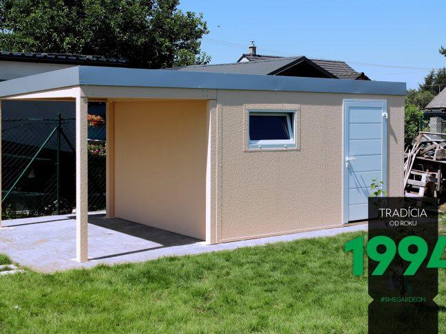 GARDEON Gartenhaus mit Überdachung und weißer Hörmann Tür