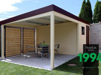 Design-Überdachung von GARDEON mit Wandelementen aus Holz