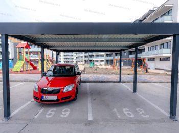 Das Doppelcarport von GARDEON mit einem roten Auto